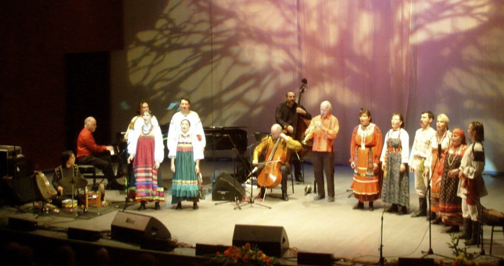Winter Consort performing in Moscow, Russia with the Dimitri Prokrovski Ensemble. Tour of Russia 2008.