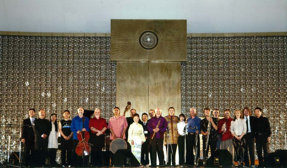 Paul Winter Consort after a performance in Meishusama Hall outside of Otsu, Japan 2008