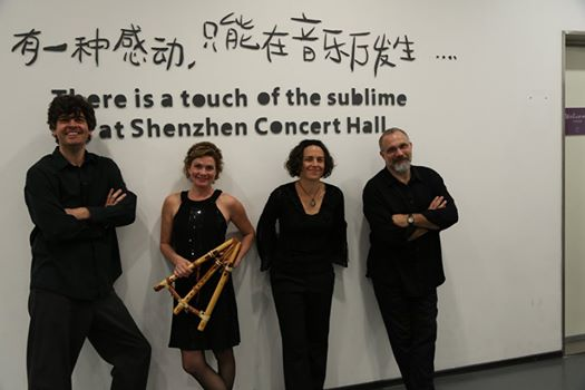 Rhonda Larson & Ventus China tour 2014. Shenzhen China. L to R: Chris Rosser, Rhonda Larson, Carolyn Koebel and yours truly.