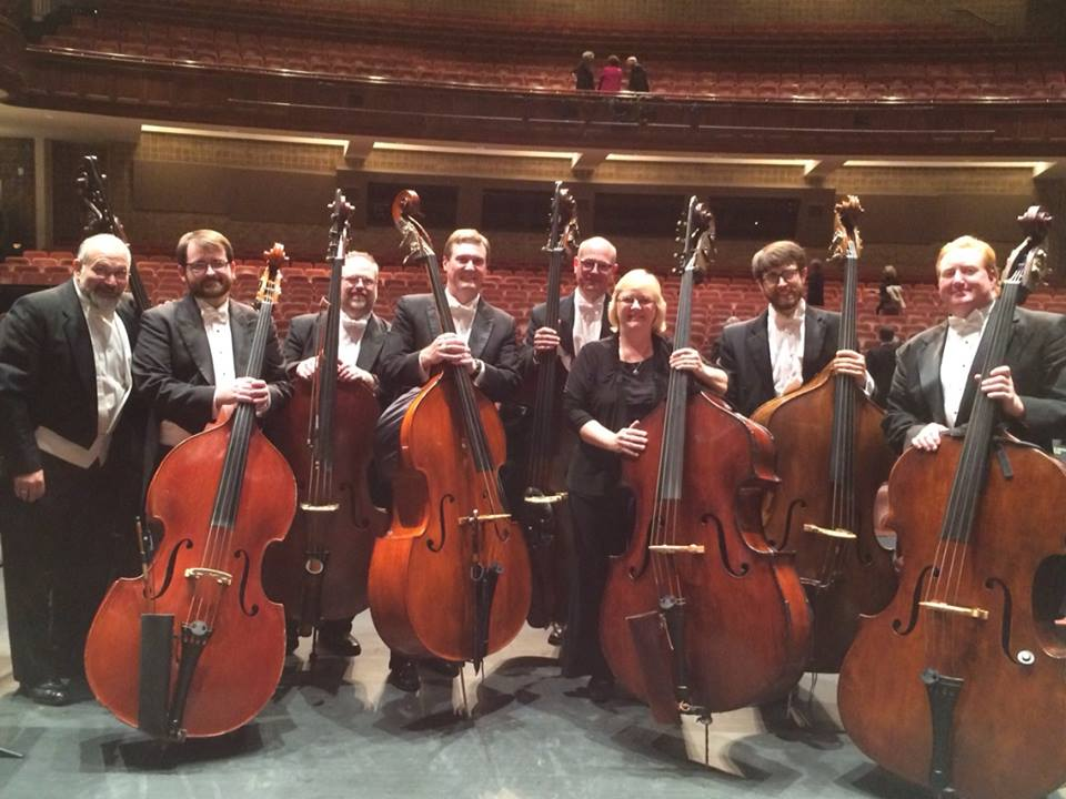 So fortunate to perform with the huge sounding Greenville Symphony Orchestra Bass Section 11/1/14. Right to Left: Tim Easter-Principal, Jonathan Rouse, Gloria Jones-Assistant principal Atlanta Symphony Orchestra,  Ian Bracchitta-Assitant Principal, Todd Beal, Brian Gencarelli,  Levi Gable, Eliot Wadopian
