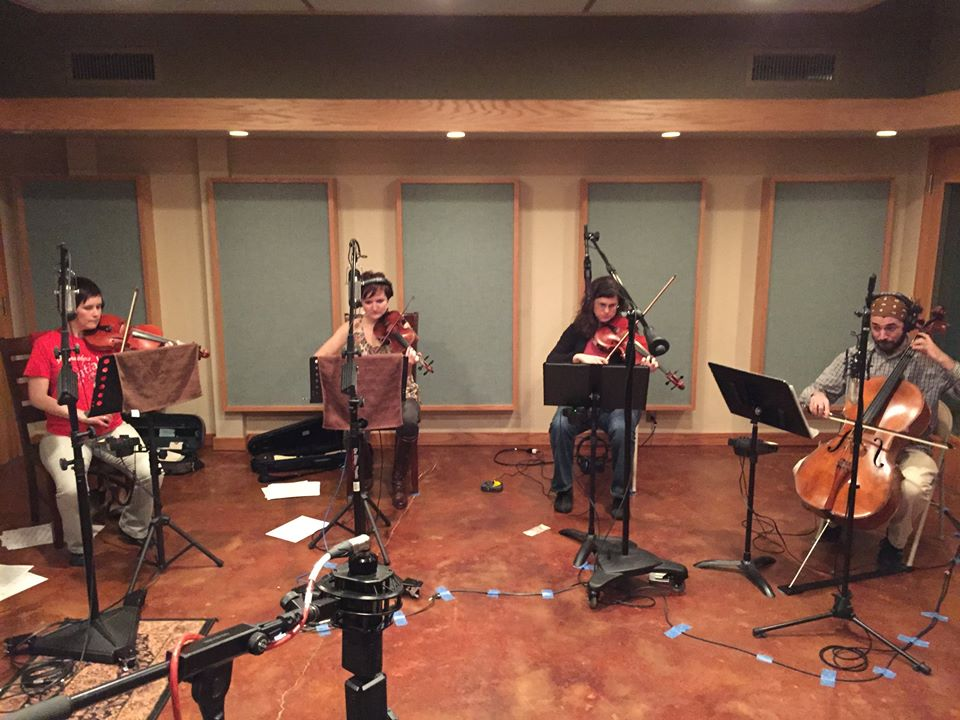 Recording the Opal String Quartet for the new Free Planet Radio album. Sound Temple Studios, Asheville, NC