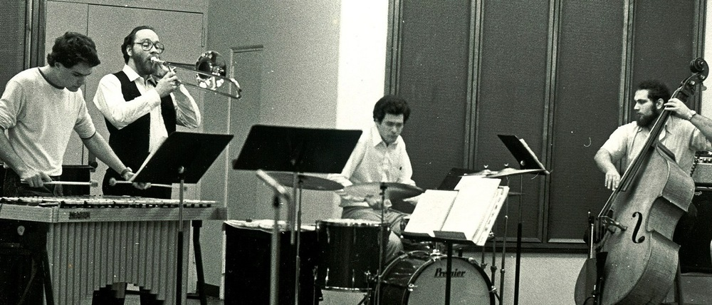 As time goes by, wow! Back in the day, I dunno maybe 1980? L to R Paul Babelay- vibes, Charlie Vernon (now the principal bass trombonist for the Chicago Symphony)- trombone, Al Gardner- drums and yours truly on bass.
