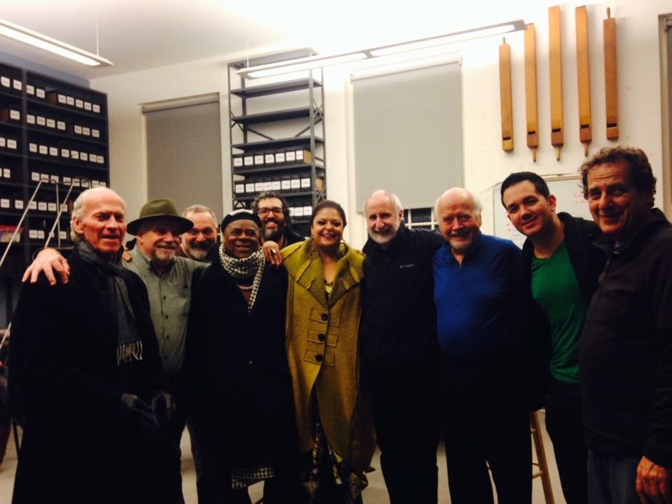 "Winter Solstice Celebration 2015. Left to right Paul McChandless, Paul Sullivan, Eliot Wadopian, Edson ""Cafe"" D'Silva, Gil Oliviera, Fabiana Cozza, Eugene Friesen, Paul Winter, Ronaldo Andrade and Jamey Haddad"
