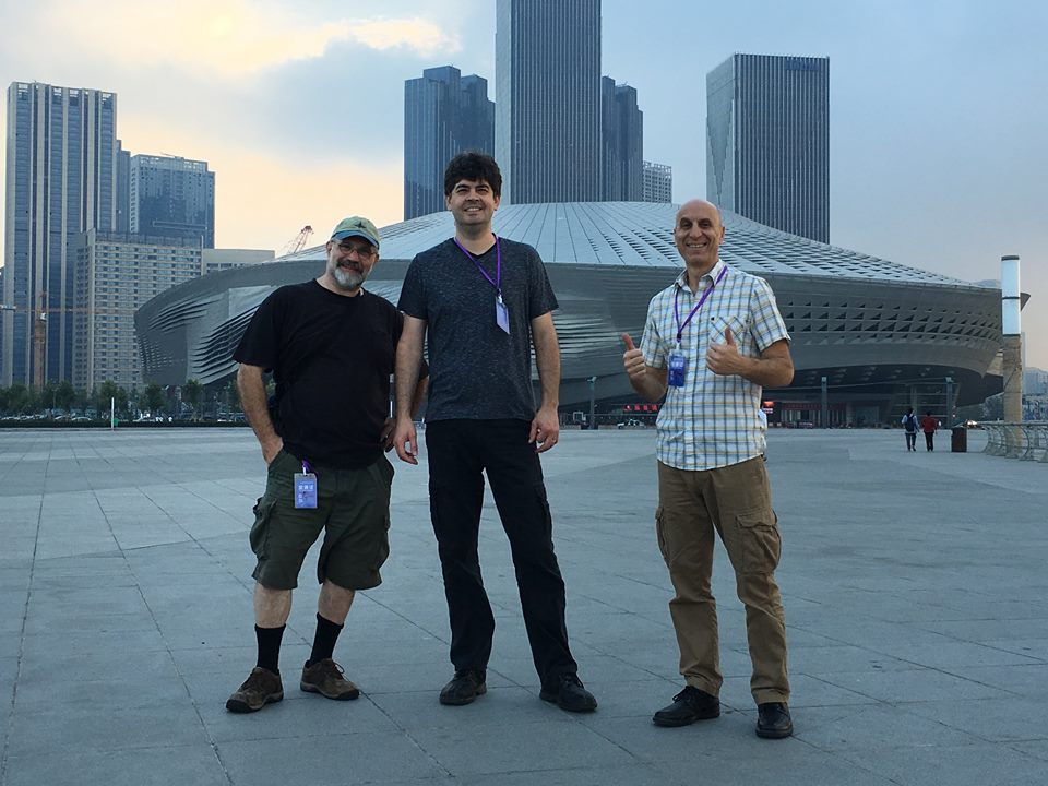 Free Planet Radio in front of the Dalian Poly International Meeting Center and Concert Hall. Dalian China Sept. 2, 2016