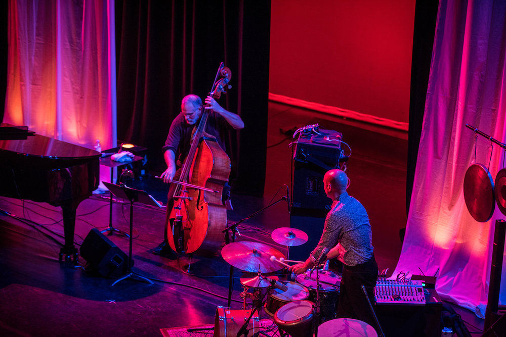 Eliot-double bass and River Guerguerian-percussion. Dian Wortham Theatre. May 2017