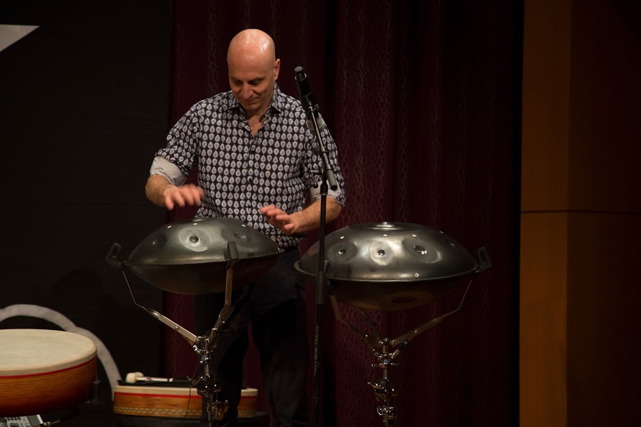 River Guerguerian performing on the handpans. Free Planet Radio performance Gladdening Light Symposium, Winter Park, Fl 2018