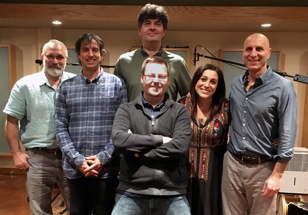 Free Planet Radio with Billy Cardine perform on singer/songwriter Jane Kramer's new record.   L to R: Eliot Wadopian, Billy Cardine, Adam Johnson in front of Chris Rosser, Jane Kramer & River Guerguerian. Sound Temple Studios Asheville, NC. April of 2018