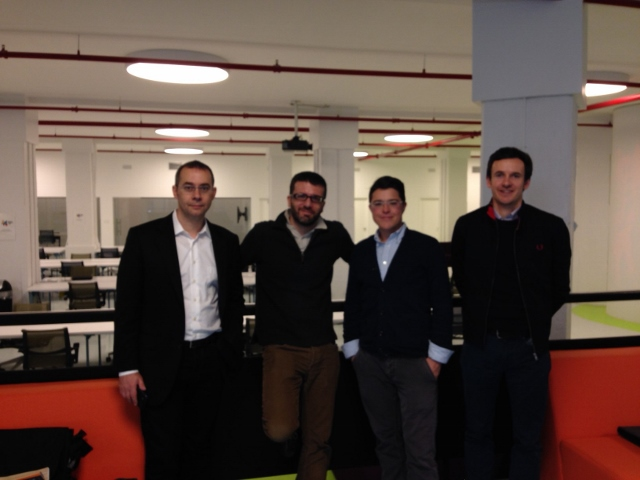 Patrick Lardi, COO of Newscron and Felix Moesner and Pierre Dorsaz, from swissnex meeting with Kyle Ranson-Walsh from the NY Media Center in Brooklyn