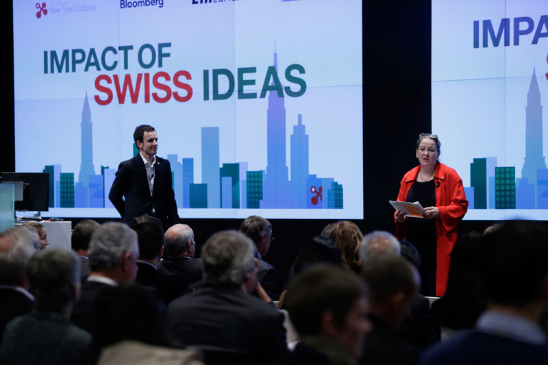 Bloomberg LP's Susan Kish introduces swissnex Boston New York Outpost's Pierre Dorsaz at  Impact of Swiss Ideas .