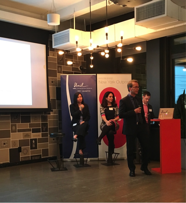 From left to right: Amy Lui Abel, PhD, Managing Director of Human Capital at The Conference Board, Vicki Salemi, Career Expert at Monster.com, Prof. Pascal St-Amour, Professor of Economics at HEC Lausanne, and Oliver Haugen, Head of swissnex Boston New York Outpost.