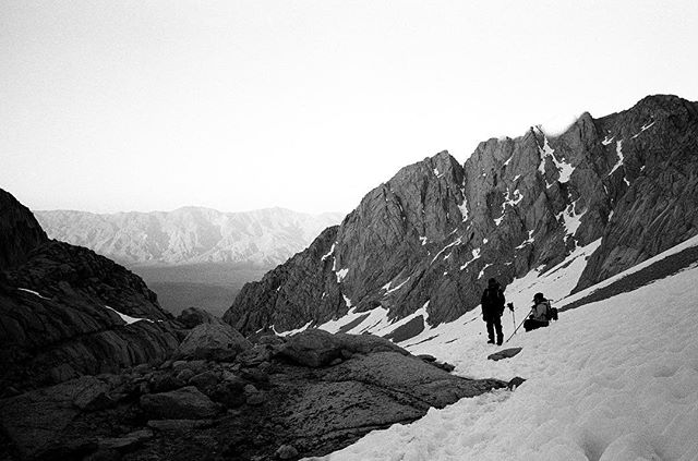Finally get to share this moment with you. Last light blazing on a sawtooth while descending Mt. Whitney. #mtwhitney #nikon35ti #tmax400