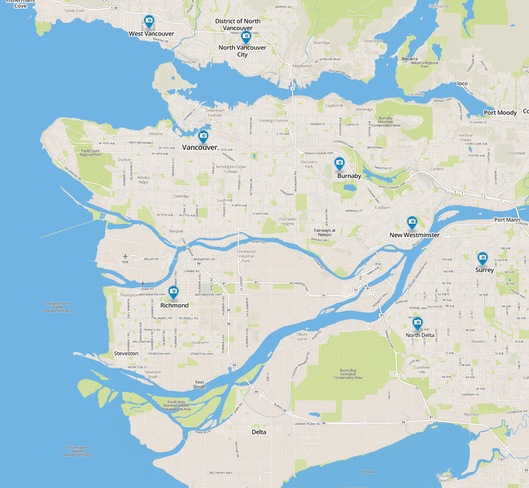 All marked service locations  extend only till the Trans-Canada highway. Travel fees apply for locations beyond downtown Vancouver.