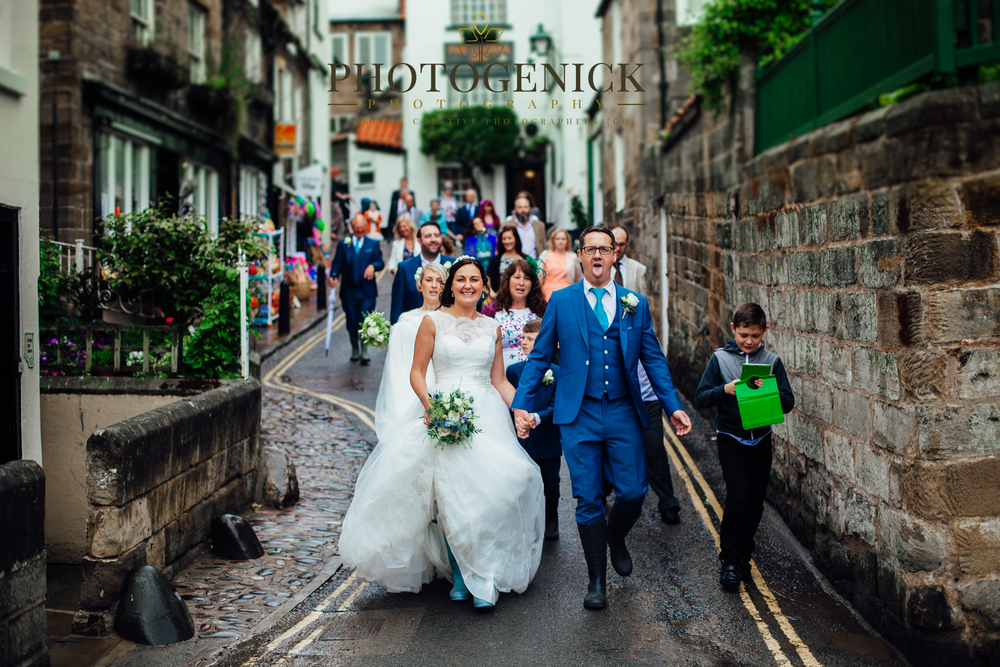 WEDDING PARTY AT ROBIN HOODS BAY