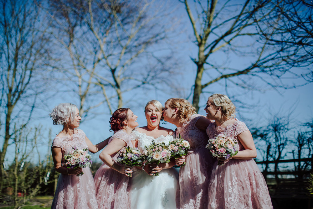bridesmaids fun Sheffield wedding photographers