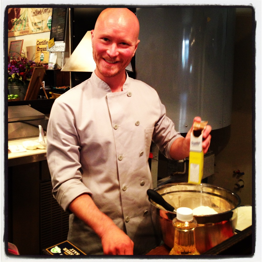 Chef Ian Knauer makes corn fritters.