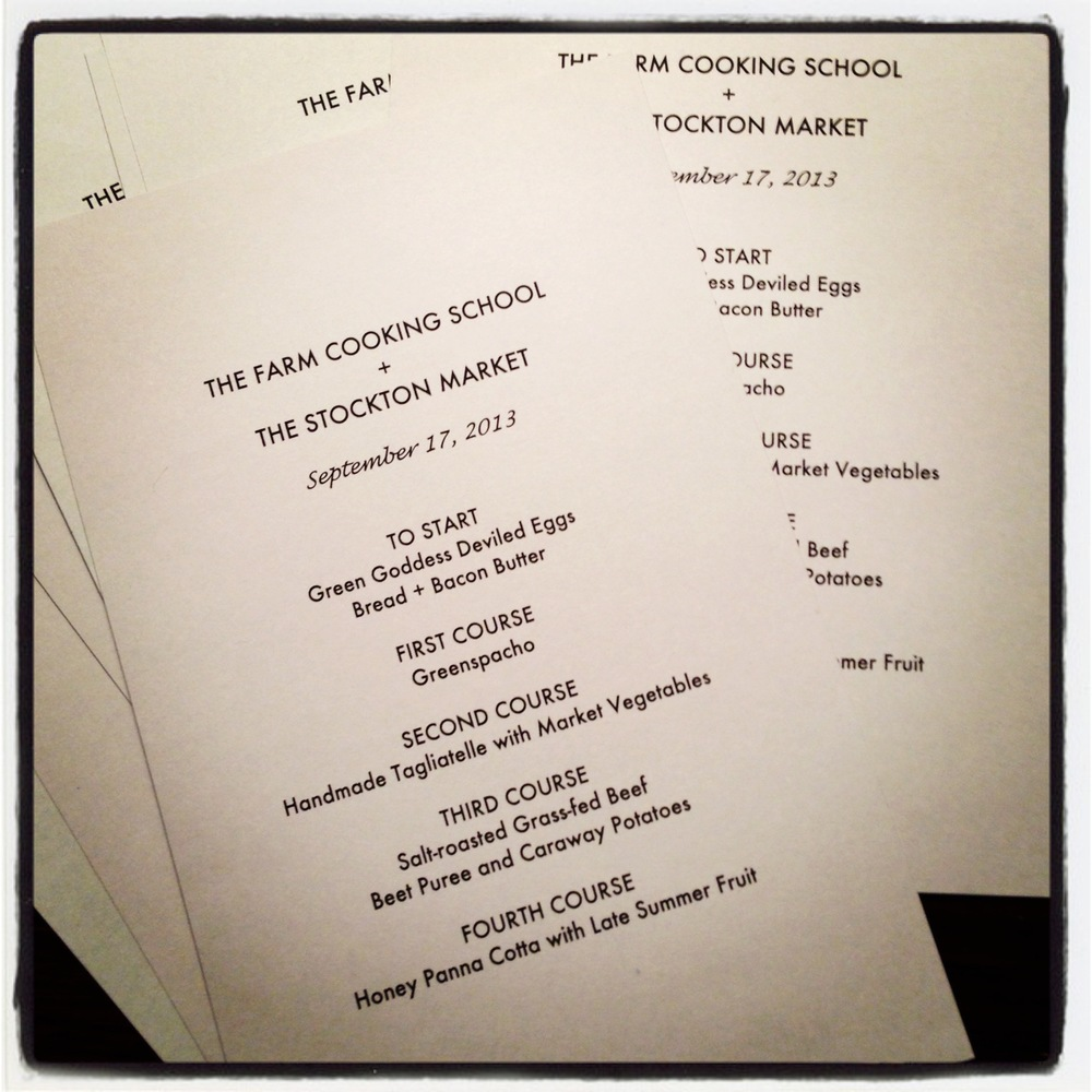 Our four-course menu is set and printed.