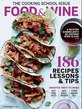 "Food & Wine Magazine March 2015 ""Best Cooking Classes Around the World"""