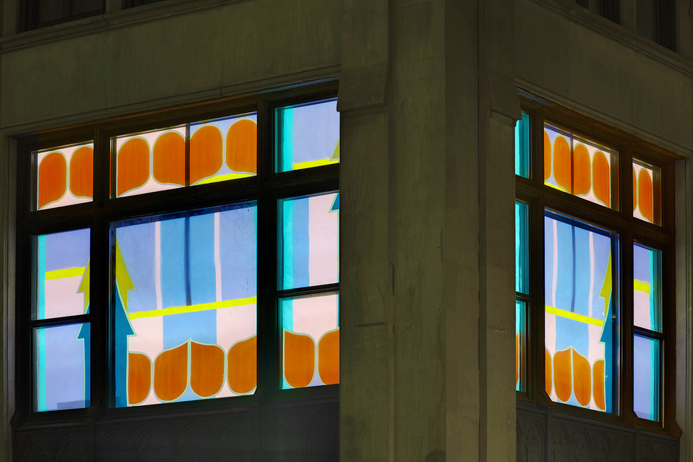 View of both windows at night, up close.
