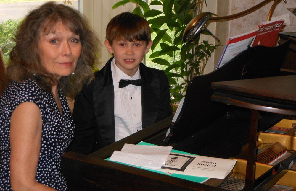 Kay and Joshua, recital prep.