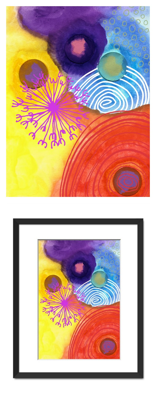 "Watercolor ""Dots"" available as framed art print"