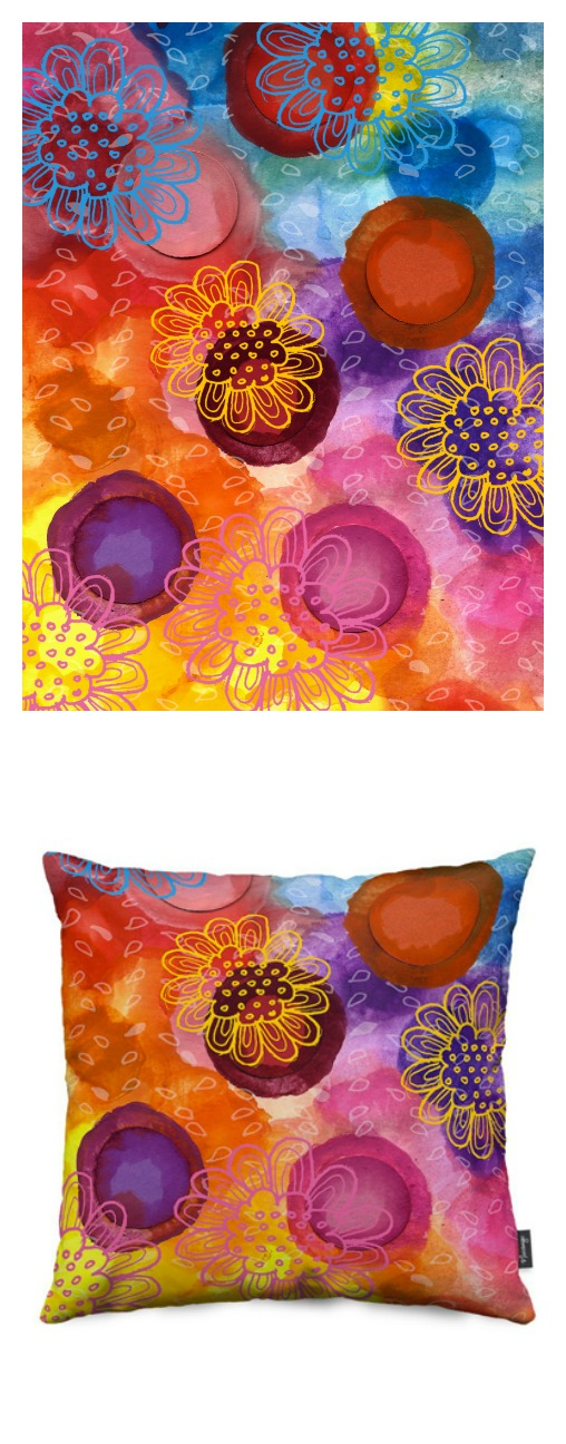 "Watercolor ""Dots2"" series, available as throw pillow"