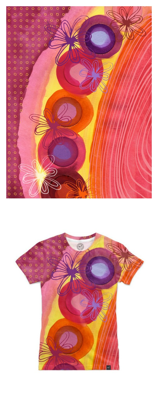 "Watercolor ""Dots4"" series, available as a T-shirt"