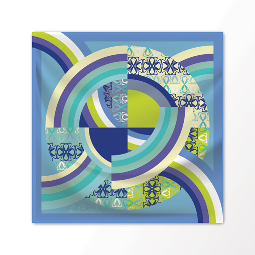 "New Scarf Design ""Broken Swirl"" in Jewel Tones, 100% Silk 36"" x 36"" square"