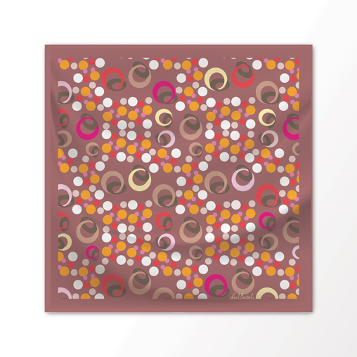 "New Scarf Design ""Bubbles"" in Desert Pinks, 100% Silk 36"" x 36"" square"