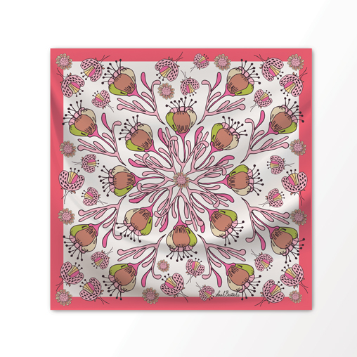 "New Scarf Design ""Desert Bloom"" in Watermelon, 100% Silk 36"" x 36"" square"