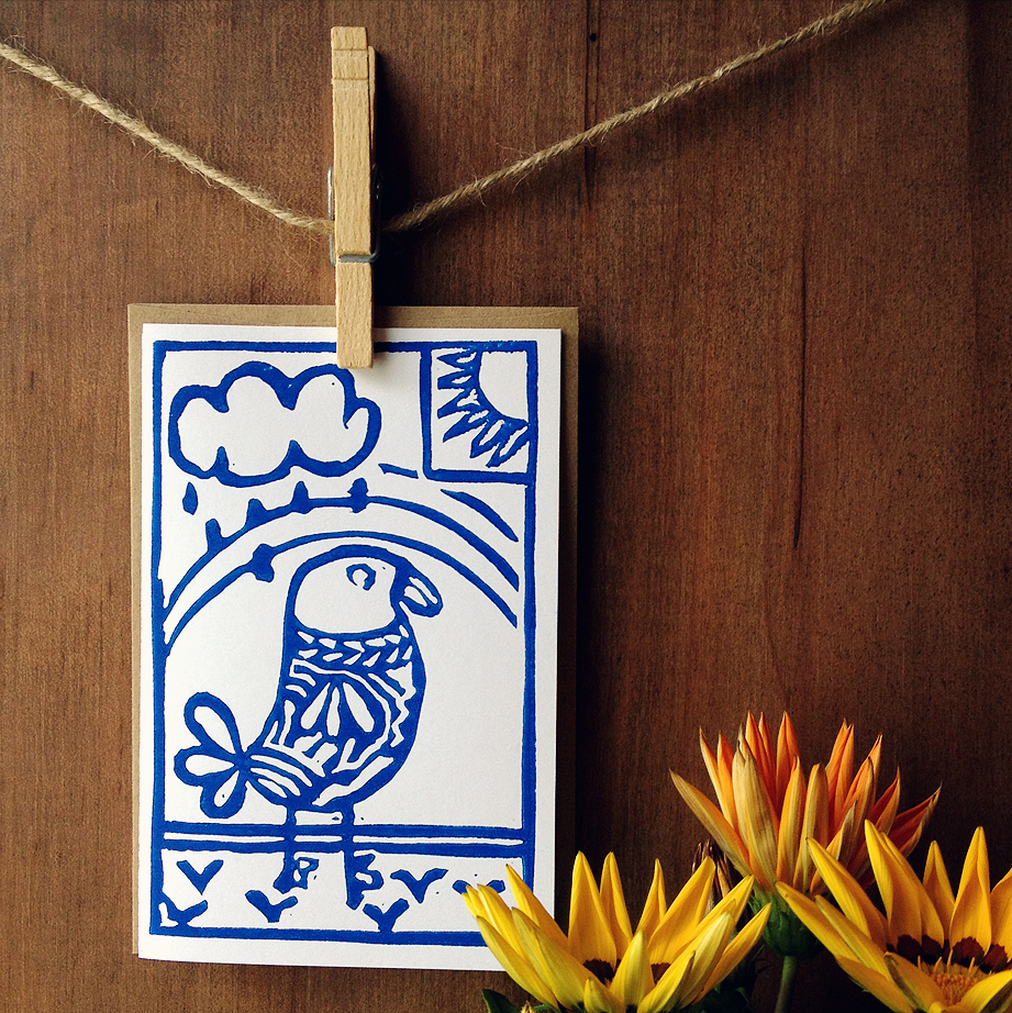 "Notecard, ""Bossy Bird"" in Blue, Block Printed 4"" x 6"" Card"