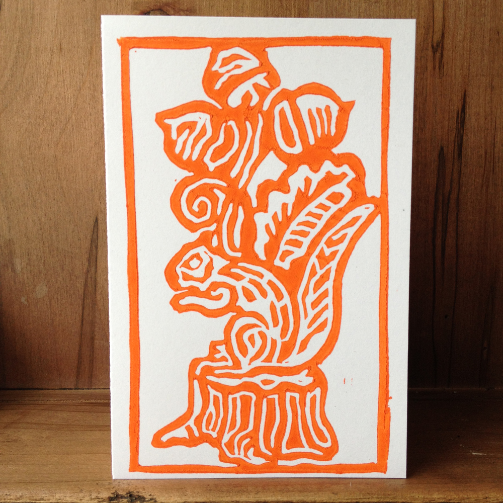 "Notecard, ""Silly Squirrel"" in Orange, Block Printed 4"" x 6"" Card"