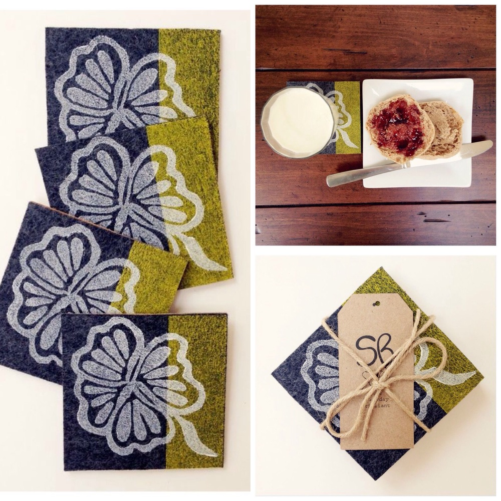 "Painted Palm- Coaster Set of 4 100% Merino Wool 4""x4"" With Cork Backing"