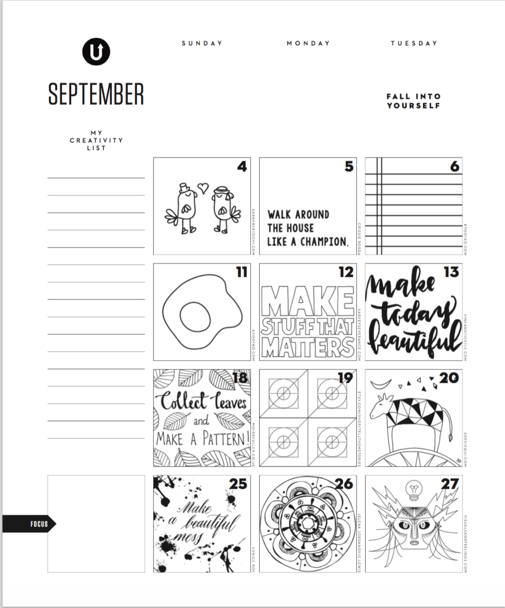 Uppercase Magazine - September Calendar, 2 Pages - Click image to download