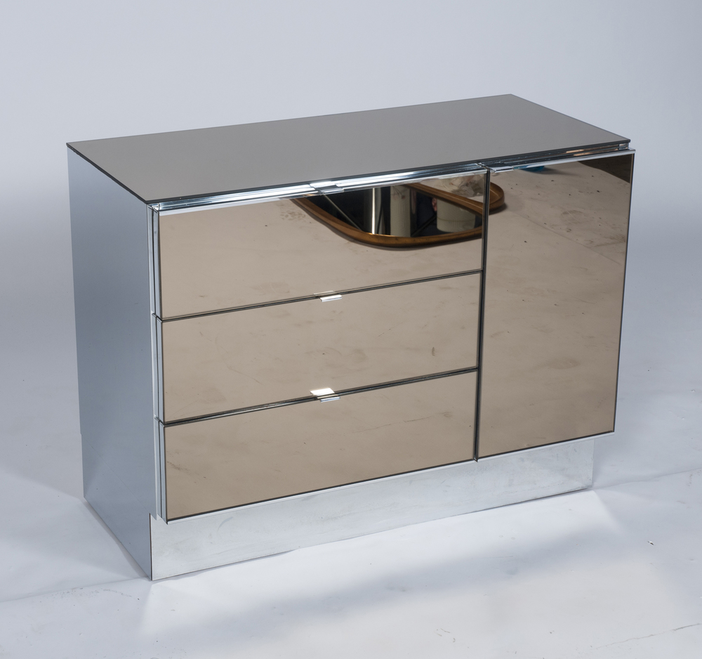 Ello Smoked Mirror Cabinets By Guy Barker, Two Available
