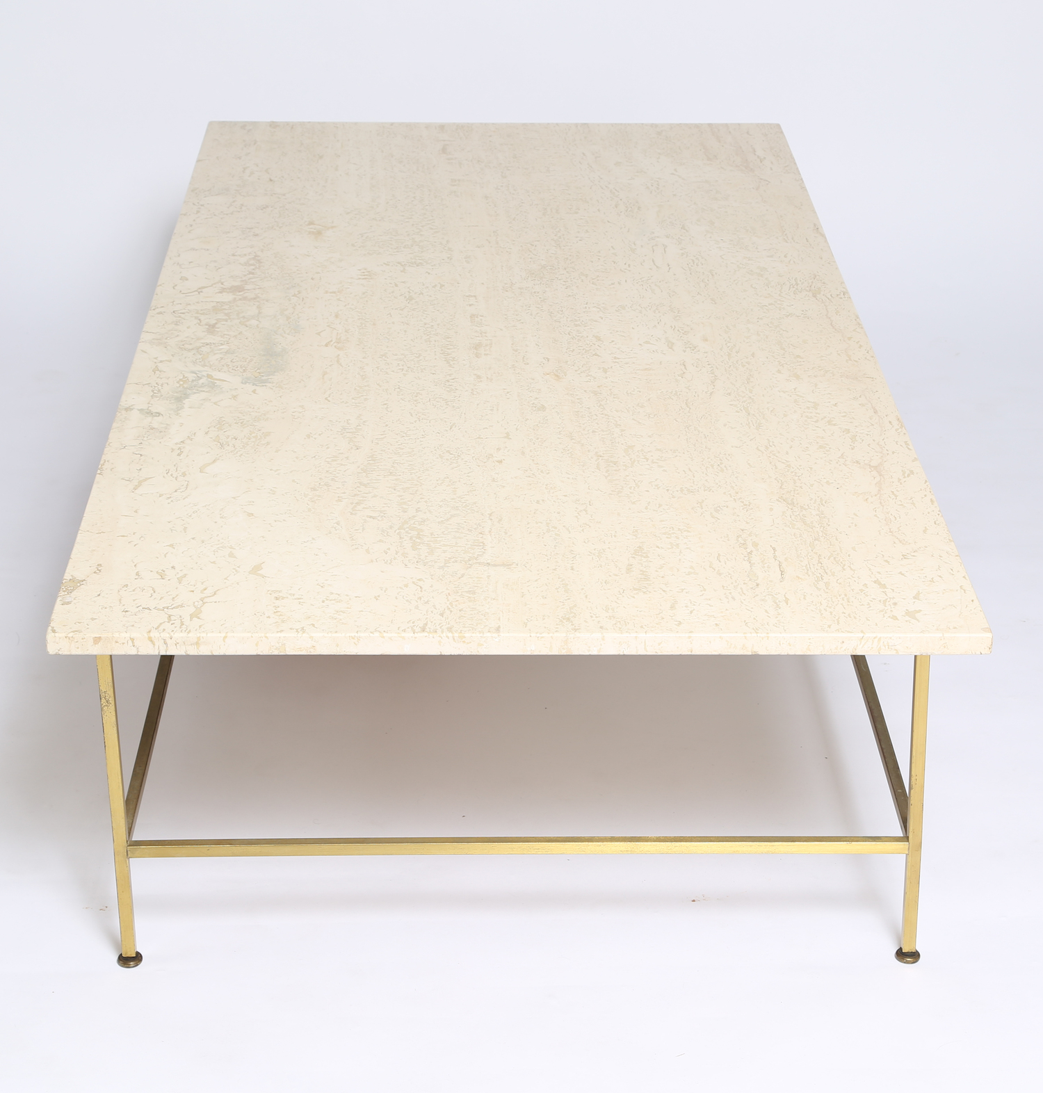 Paul McCobb travertine coffee table — Full Circle Modern