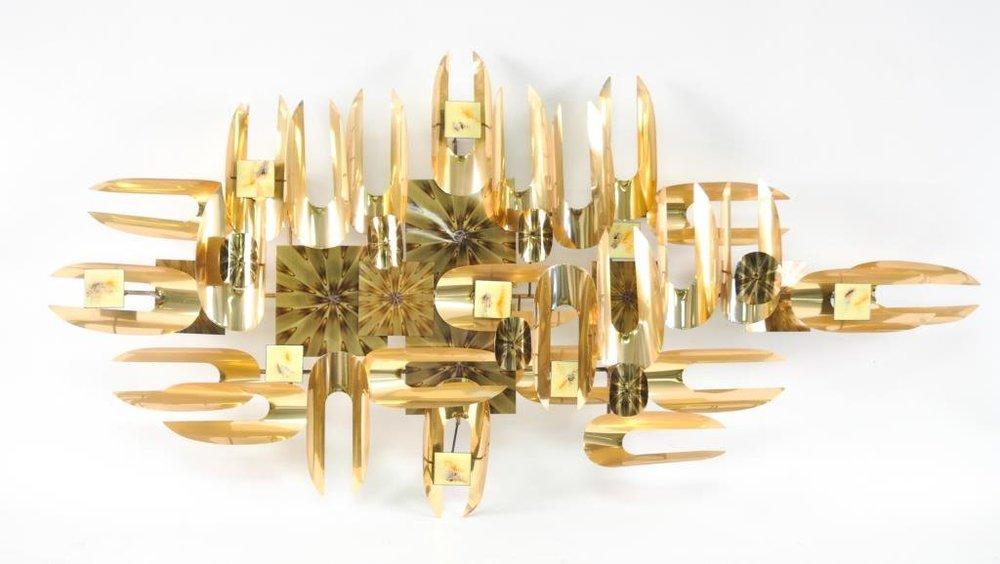 Brutalist brass and enamel wall sculpture — Full Circle Modern
