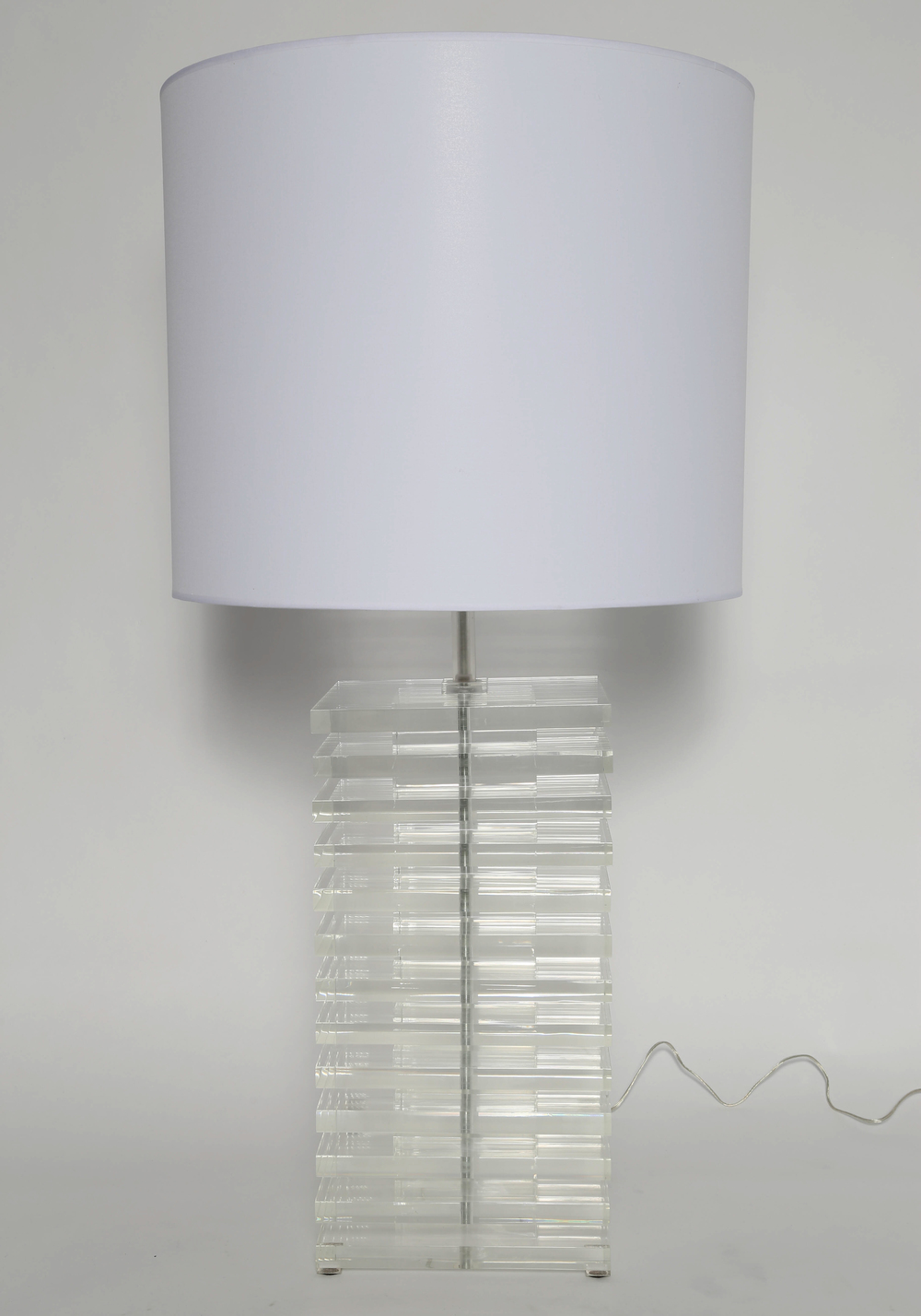 Giant Stacked Lucite Table Lamp