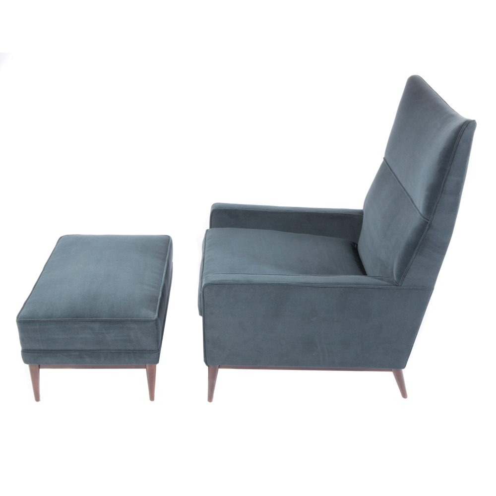 High Back Lounge Chair And Ottoman By Paul McCobb