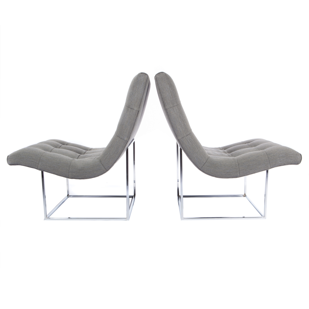 Pair Of 1970s Chrome Scoop Chairs By Milo Baughman For Thayer Coggin