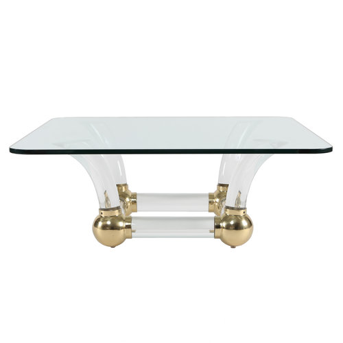 1970s Sabre Leg Lucite Brass And Glass Coffee Table Full Circle
