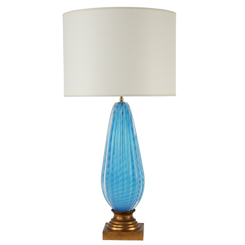 1950s murano blue glass table lamp on gilt base