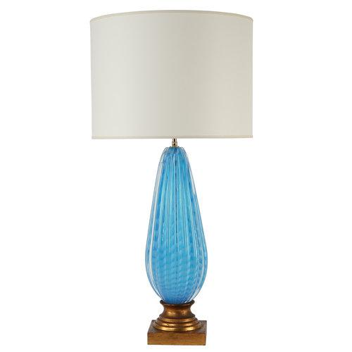 1950s murano blue glass table lamp on gilt base