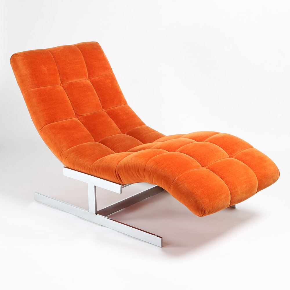 1970s Milo Baughman  Wave  chaise lounge in original orange velvet  sc 1 st  Full Circle Modern : wave chaise - Sectionals, Sofas & Couches