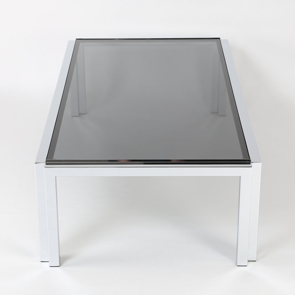 Rectangular Chrome And Smoked Glass Coffee Table, Circa 1970s
