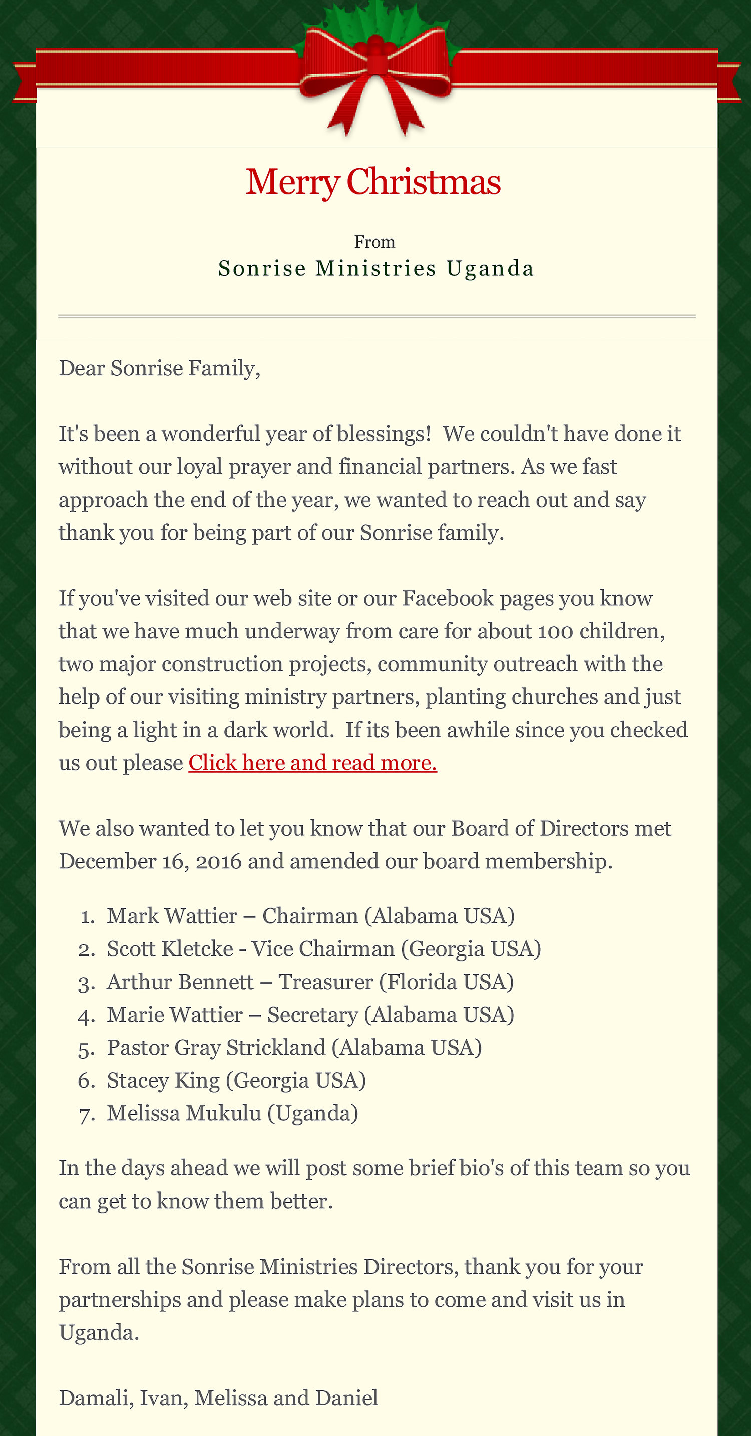 Merry Christmas And New Board Announced Sonrise Ministries Uganda