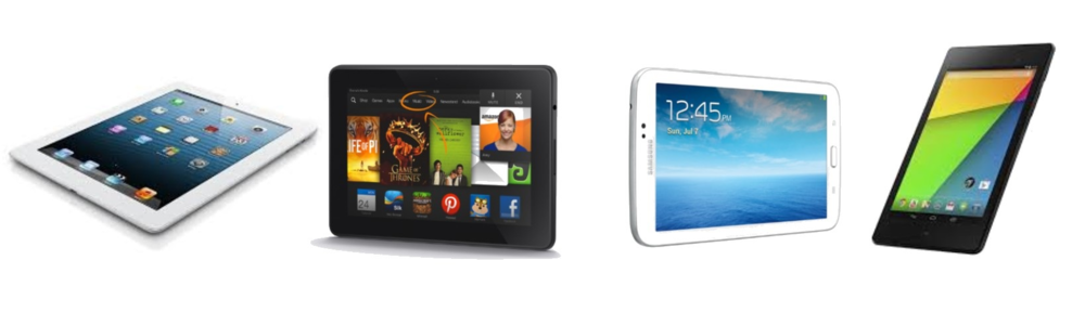(Left to right): Apple iPad Mini, Amazon Kindle Fire HDX, Galaxy Tab 3 7.0, Google Nexus 7