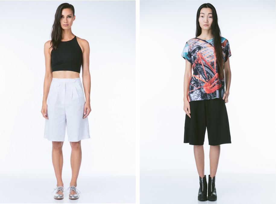 Vivat Veritas white culottes,$84;achro black culottes,$55