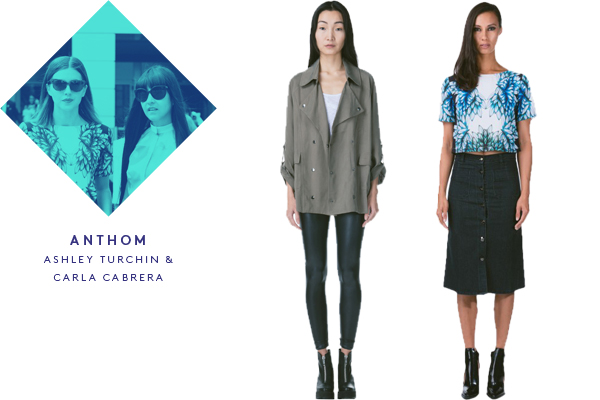 Achro Slouchy Drape Front Jacket, $120, available at Anthom; Finders Keepers Leaf Print Boxy Crop Top. $95, available at Anthom.