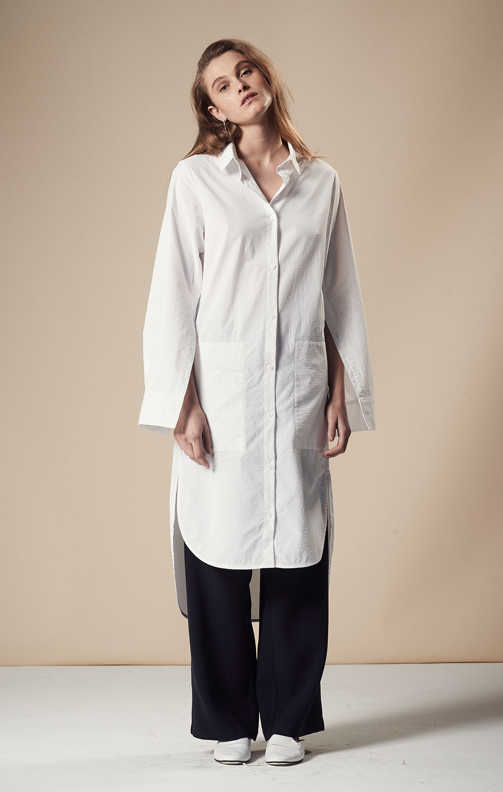 Open Sleeve Shirt Dress FBD050-WHT Tie Front Wide-leg Pant FBP035-NVY