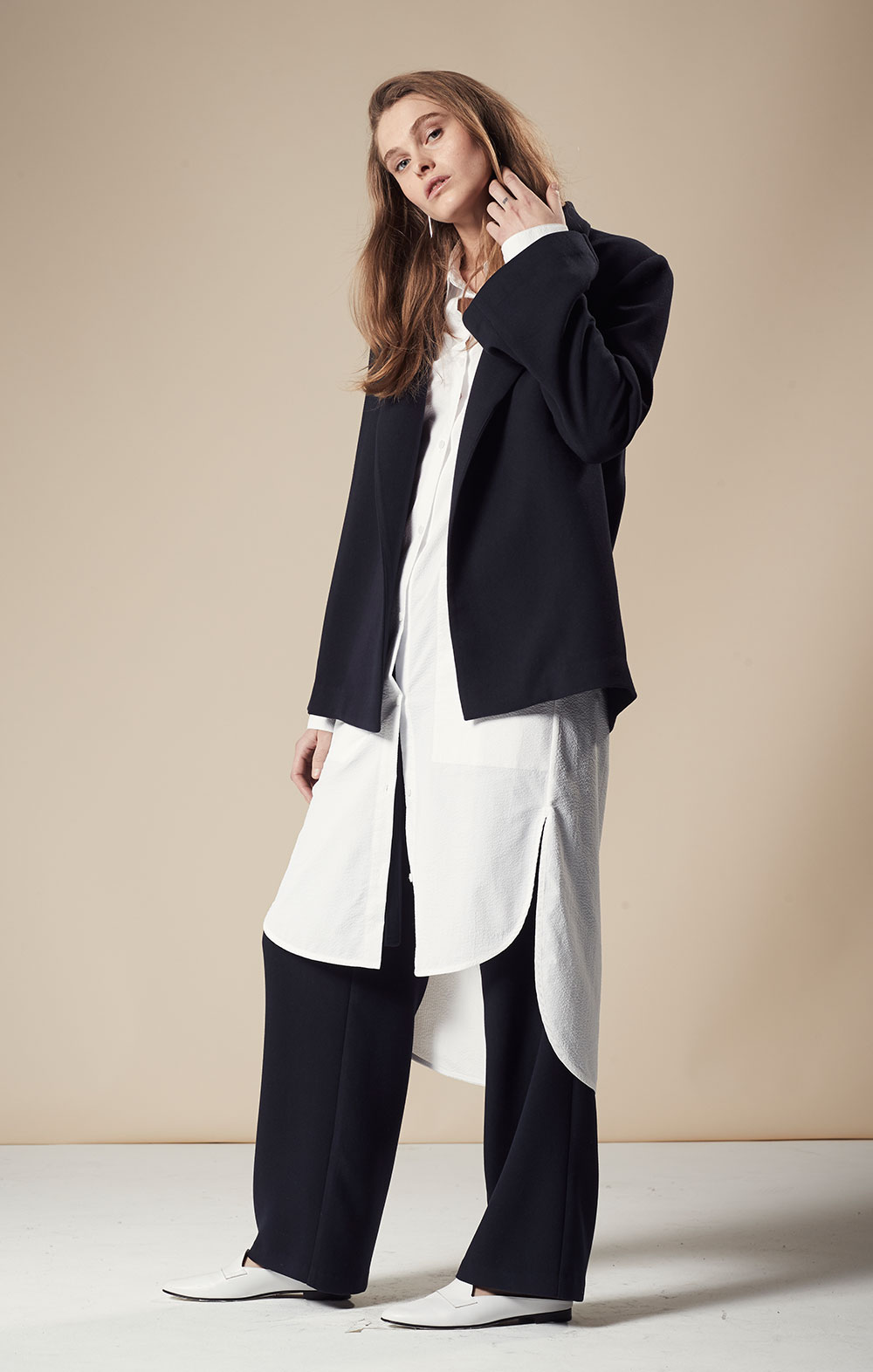 Open Sleeve Blazer FBJ045-NVY Open Sleeve Shirt Dress FBD050-WHT Tie Front Wide-leg Pants FBP035-NVY